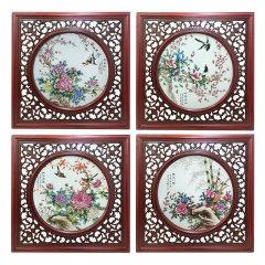 《富贵满堂》四斗方瓷版画 货号123367