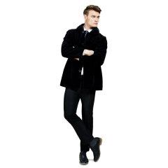 恺瑞男士羊毛水貂领大衣  货号123907